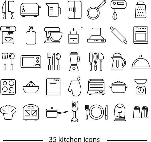 kitchen line icons vector art illustration