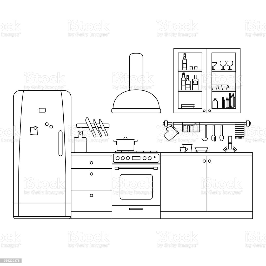 The Kitchen Sink Art Drawing Sketch Sketchbook By: Kitchen Line Interior Stock Vector Art & More Images Of