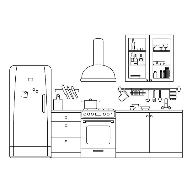 Kitchen line interior . Kitchen line interior with furniture and equipment. Vector thin illustration. cooking drawings stock illustrations