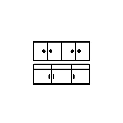 Kitchen linear vector icon. Modern outline Kitchen logo concept from Interior Design collection. Suitable for use on web apps, mobile apps and print media.