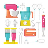 Kitchen Mixer and Blender Icons Set Culinary Equipment