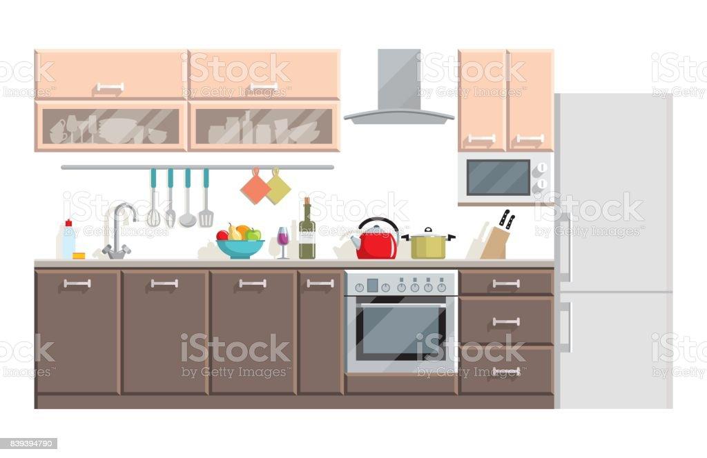 Ilustración de Interior Moderno De Cocina Y Muebles Sobre Fondo ...