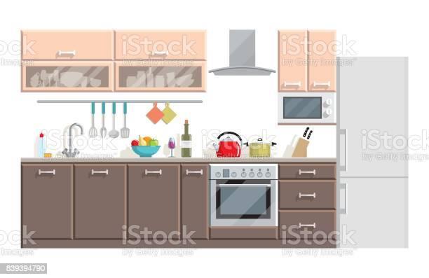 Keuken Modern Interieur En Meubilair Op Witte Achtergrond Stockvectorkunst En Meer Beelden Van Aanrecht Istock