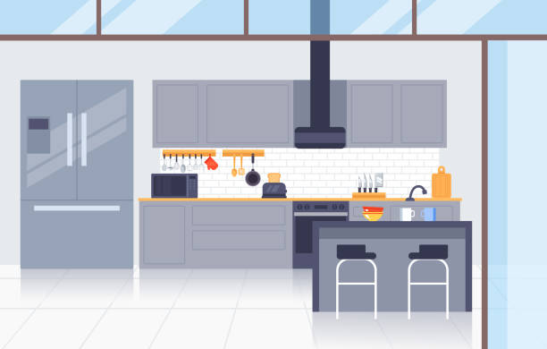 Kitchen modern interior concept. Vector flat graphic design illustration Kitchen modern interior concept. Vector flat graphic design kitchen stock illustrations