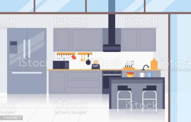 Kök Modernt Inrednings Koncept Vektor Platt Grafisk Design Illustration-vektorgrafik och fler bilder på Affär