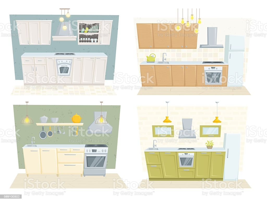 Kitchen modern interior vector art illustration