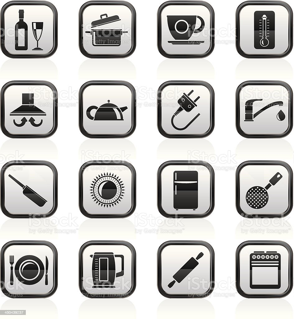 kitchen objects and accessories icons royalty-free stock vector art