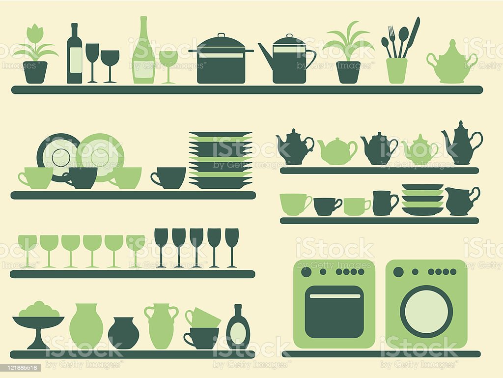 Kitchen objects silhouettes set. royalty-free stock vector art