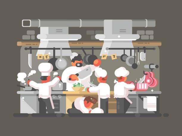 bildbanksillustrationer, clip art samt tecknat material och ikoner med köket på restaurang - arbeta köksbord man