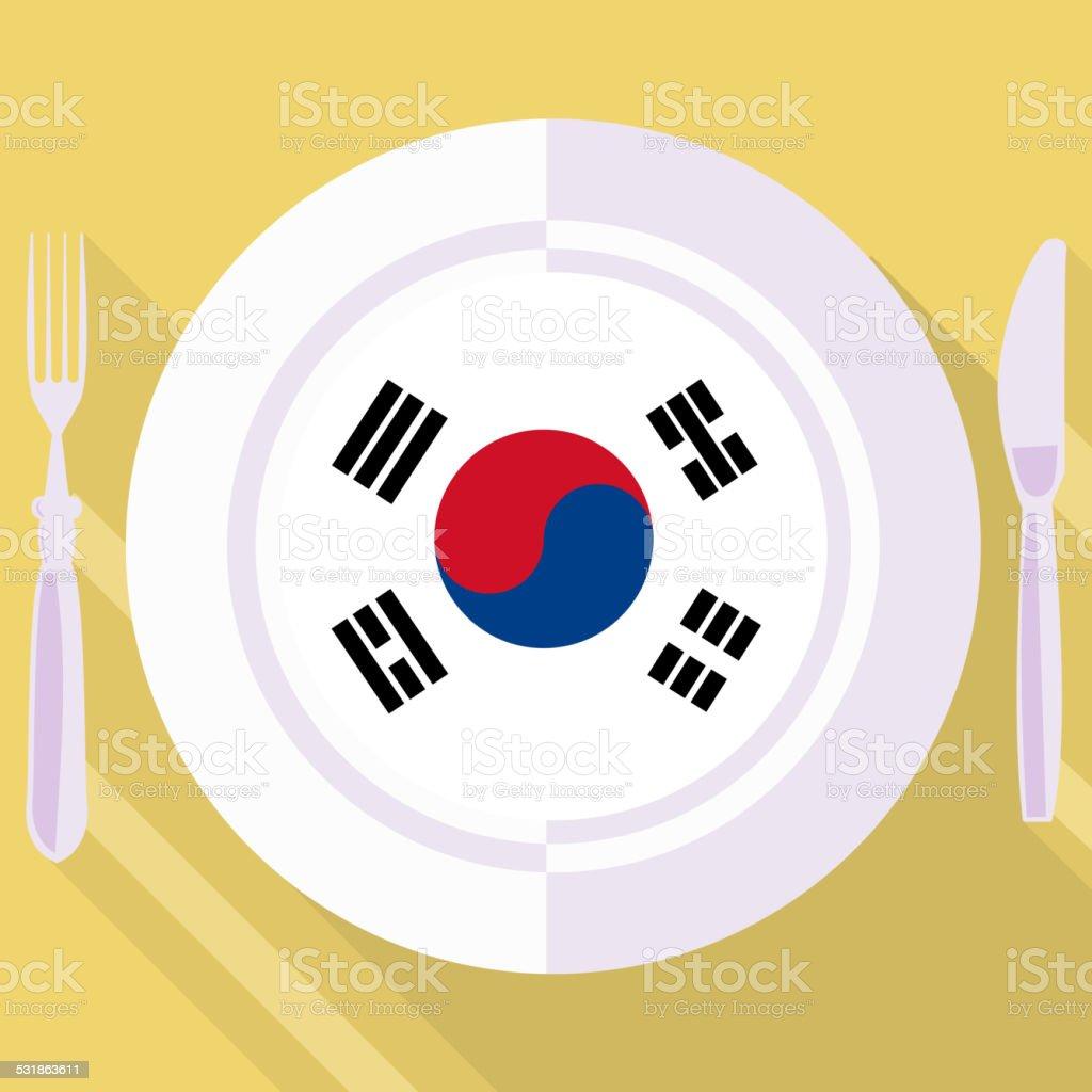 Cozinha da Coreia do Sul - ilustração de arte em vetor