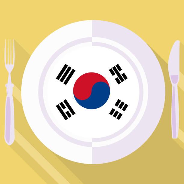 ilustrações, clipart, desenhos animados e ícones de cozinha da coreia do sul - bandeira da coreia