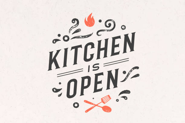 Kitchen Open. Wall decor, poster, sign, quote Kitchen Open. Wall decor, poster, sign, quote. Poster for kitchen design with calligraphy lettering text Kitchen open. Vintage typography on white background. Vector Illustration kitchenware department stock illustrations
