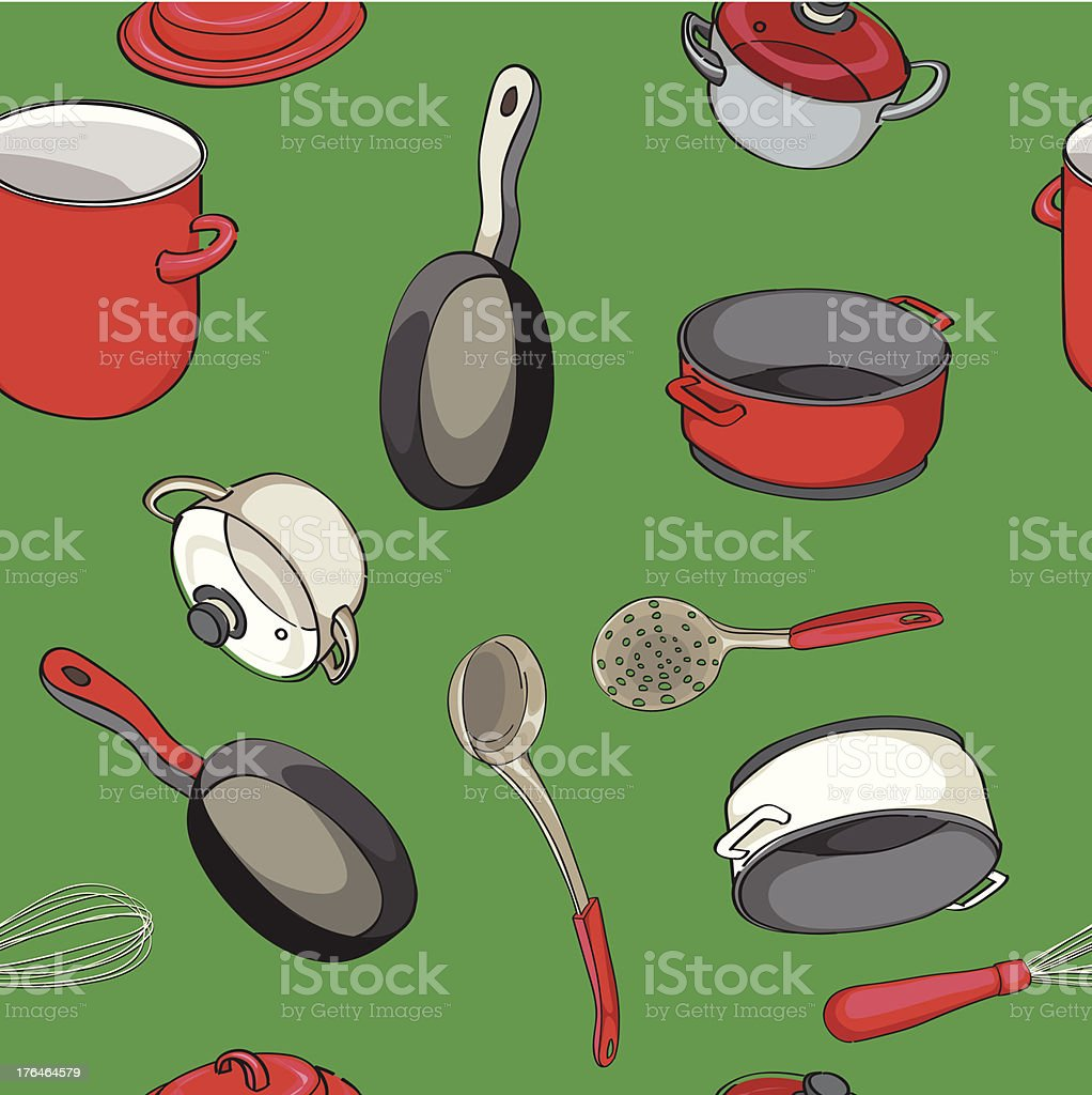 Kitchen pans pattern royalty-free stock vector art