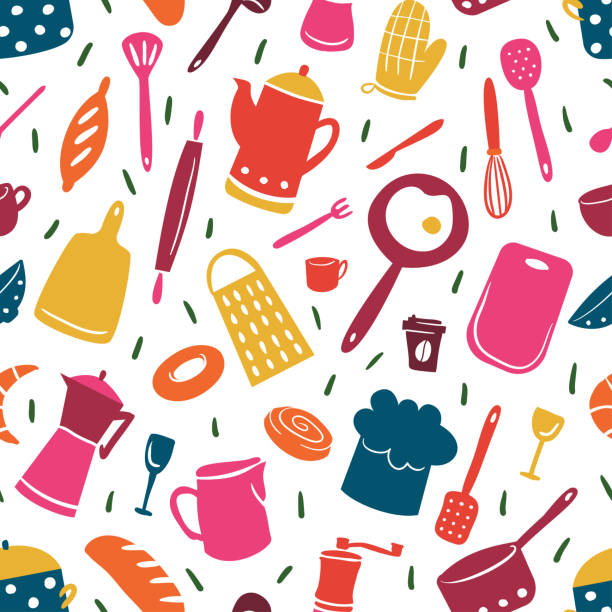 Kitchen pattern with different cooking tools. Cheerful and bright illustration in flat style Kitchen pattern with different cooking tools. Cheerful and bright illustration in flat style cooking designs stock illustrations