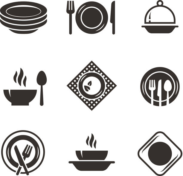 Kitchen plates and cutlery black silhouette icons. Chef and cooking emblems. Restaurant vector symbols isolated Kitchen plates and cutlery black silhouette icons. Chef and cooking emblems. Restaurant vector symbols isolated. Kitchen cooking, cook and cutlery utensil illustration cooking clipart stock illustrations