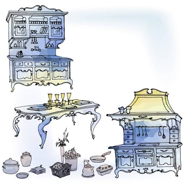 küche provanze blauen aquarell - schrankkorb stock-grafiken, -clipart, -cartoons und -symbole