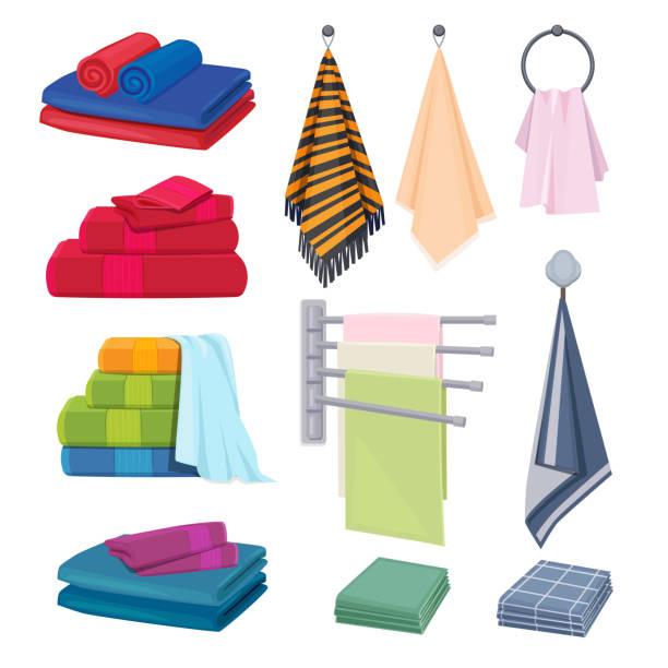 küche lumpen. textil-baumwoll-stoffe farbige decke handtücher hygiene elemente vektor cartoon sammlung - waschküchendekorationen stock-grafiken, -clipart, -cartoons und -symbole