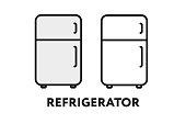 Kitchen Refrigerator Fridge Vector Flat Line Stroke Icon