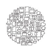 Kitchen Related - Black and White Line Icons, Arranged in Circle
