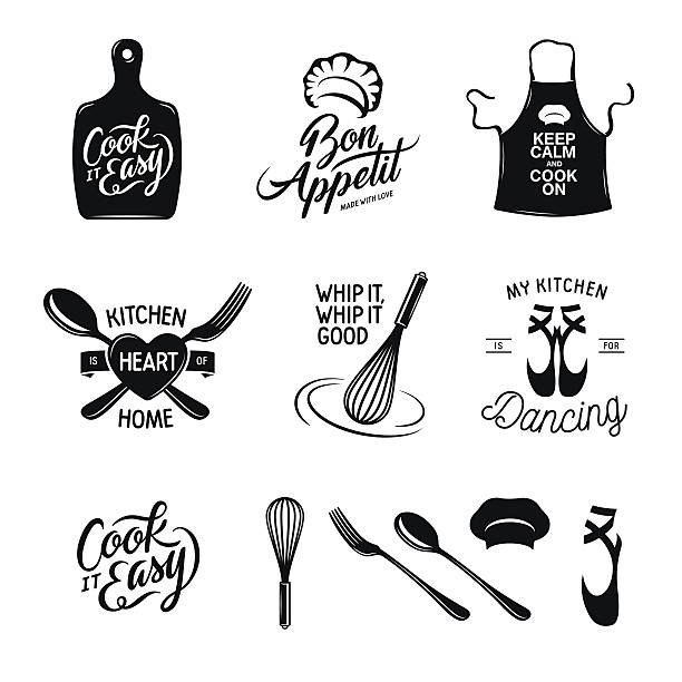 Kitchen related typography set. Quotes about cooking. Vintage vector illustration. Kitchen related typography set. Quotes about cooking. Cook it easy. Bon appetit. Whip it good. My kitchen is for dancing. Vintage vector illustration. apron stock illustrations