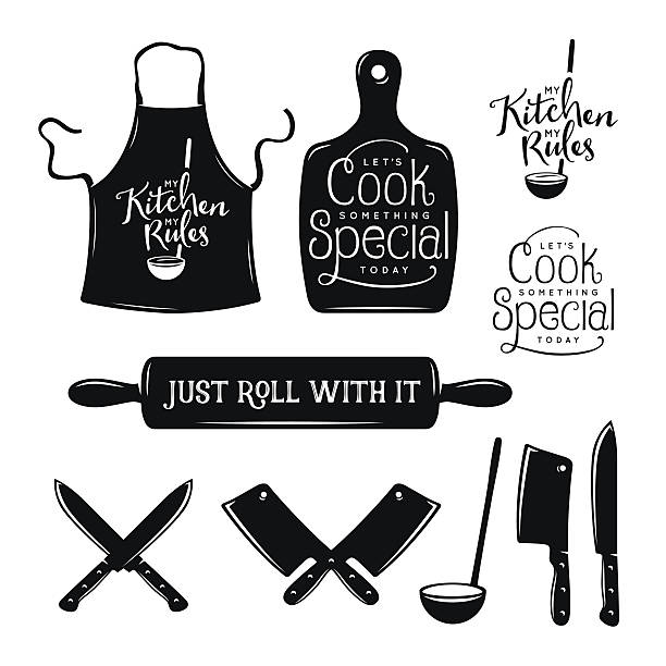 Kitchen related typography set. Quotes about cooking. Vintage vector illustration. Kitchen related typography set. Quotes about cooking. My kitchen, my rules. Just roll with it. Lets cook something special. Vintage vector illustration. apron stock illustrations
