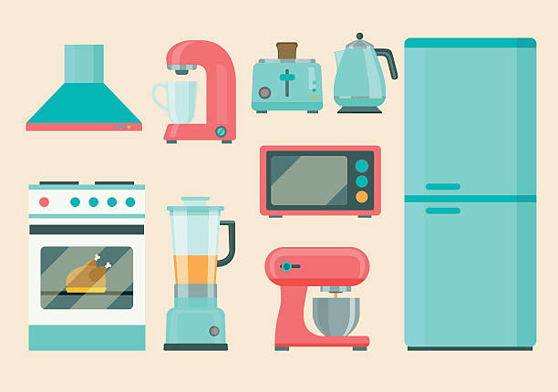 kitchen retro appliances set. flat icons. vector illustration - küchenmixer stock-grafiken, -clipart, -cartoons und -symbole