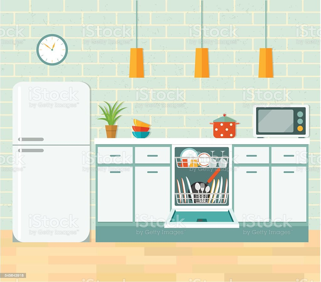 Retro Kitchen Illustration: стоковая векторная графика и другие