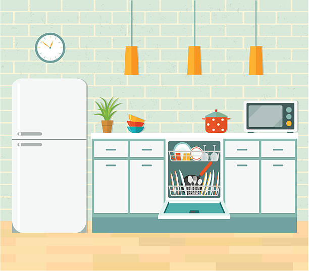 kitchen retro interior. vector flat illustration. - waschküchendekorationen stock-grafiken, -clipart, -cartoons und -symbole
