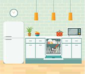 Kitchen retro interior. Vector flat illustration.