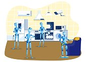 Kitchen robots for home household, robots cooking, cleaning, multitasking engineered for people assistance and convenience cartoon vector illustration. Robotic domestic intelligence help and care.