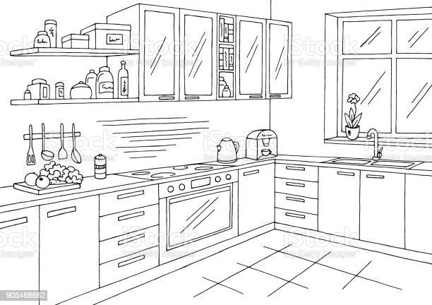 Kitchen room graphic black white interior sketch illustration vector vector id905468662?b=1&k=6&m=905468662&s=612x612&h=zwflvspmo5cqnaxwlxfksv3rgscesndvb jn5bz533q=