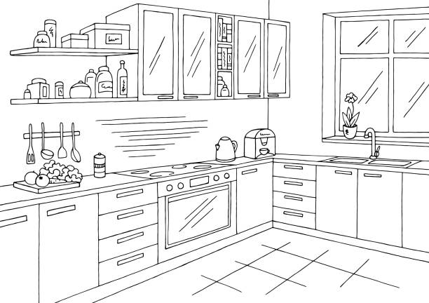 illustrazioni stock, clip art, cartoni animati e icone di tendenza di kitchen room graphic black white interior sketch illustration vector - cucina domestica