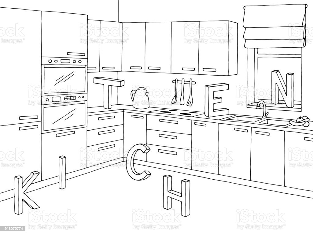 kitchen room graphic black white interior sketch illustration vector Curtain Wall Anatomy kitchen room graphic black white interior sketch illustration vector illustration