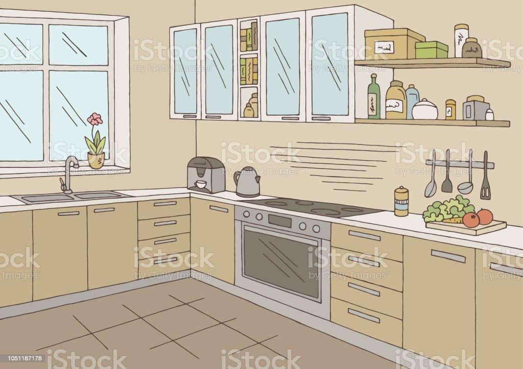 Küche Zimmer Grafik Farbe Nach Hause Innen Skizze Abbildung Vektor  Lizenzfreies Küche Zimmer Grafik Farbe Nach
