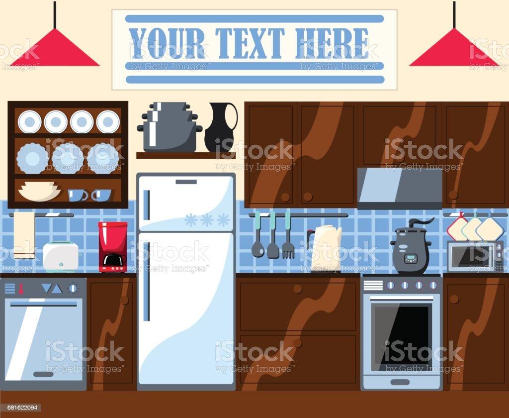 Küche Zimmer Mit Platz Für Text Illustration. Lizenzfreies Küche Zimmer Mit  Platz Für Text Illustration