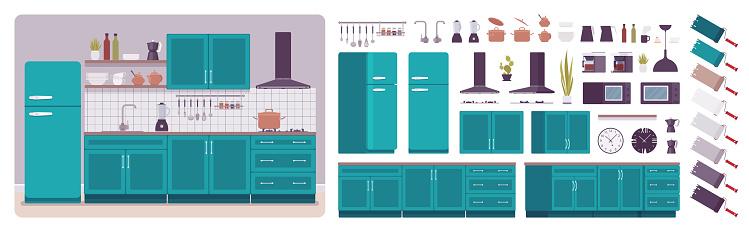 Kitchen room interior and design construction set