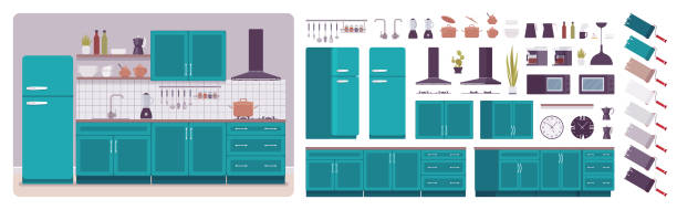 Kitchen room interior and design construction set Kitchen room interior, home creation set, ultramarine cabinet, vent hood, kit with furniture, constructor elements to build your own design. Cartoon flat style infographic illustration, color palette domestic kitchen stock illustrations