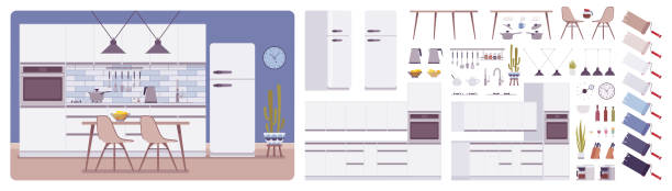illustrazioni stock, clip art, cartoni animati e icone di tendenza di kitchen room interior and design construction set - kitchen situations
