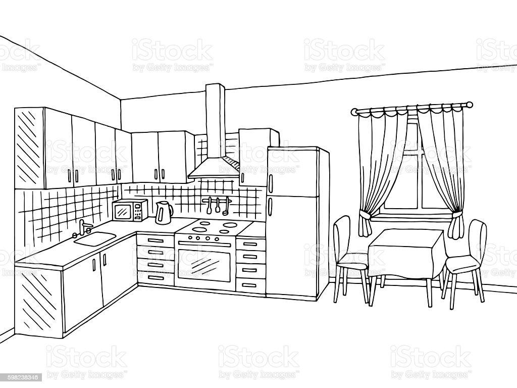 Interior Design Line Art Vector : Kitchen room interior black white graphic art sketch