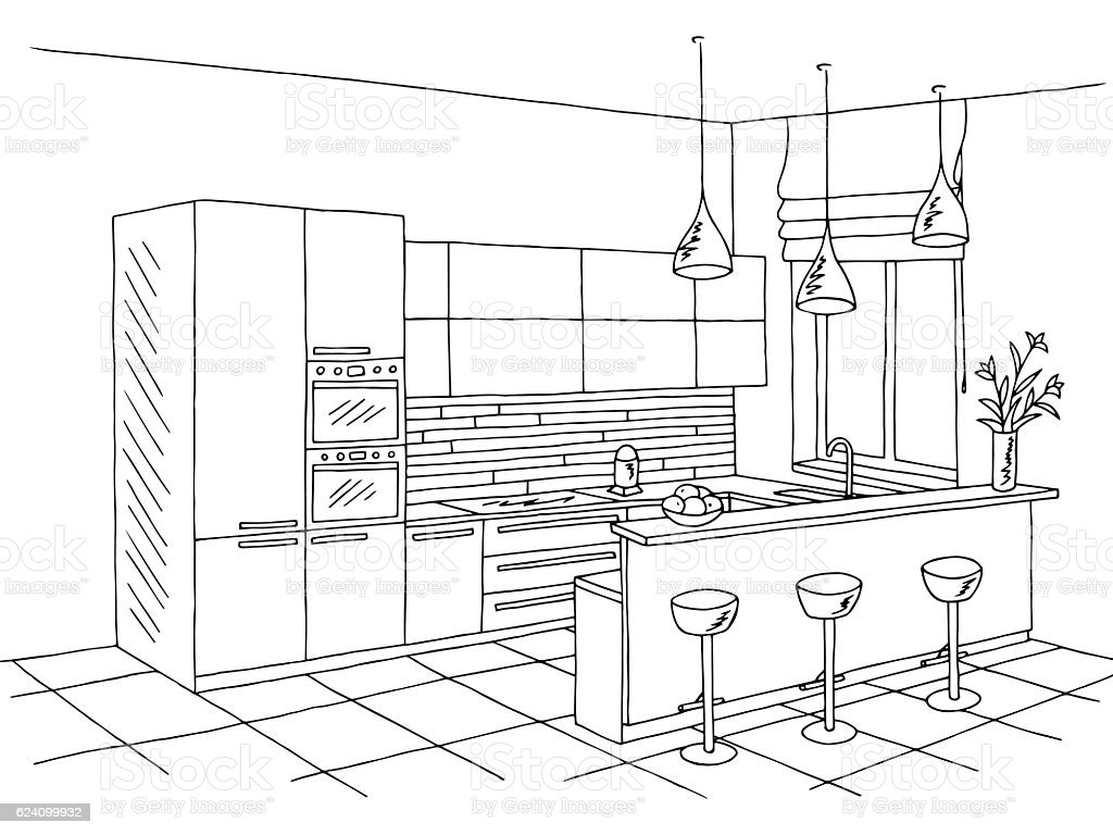 Kitchen room interior black white graphic sketch illustration vector