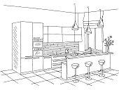 Kitchen room interior black white graphic sketch illustration vector