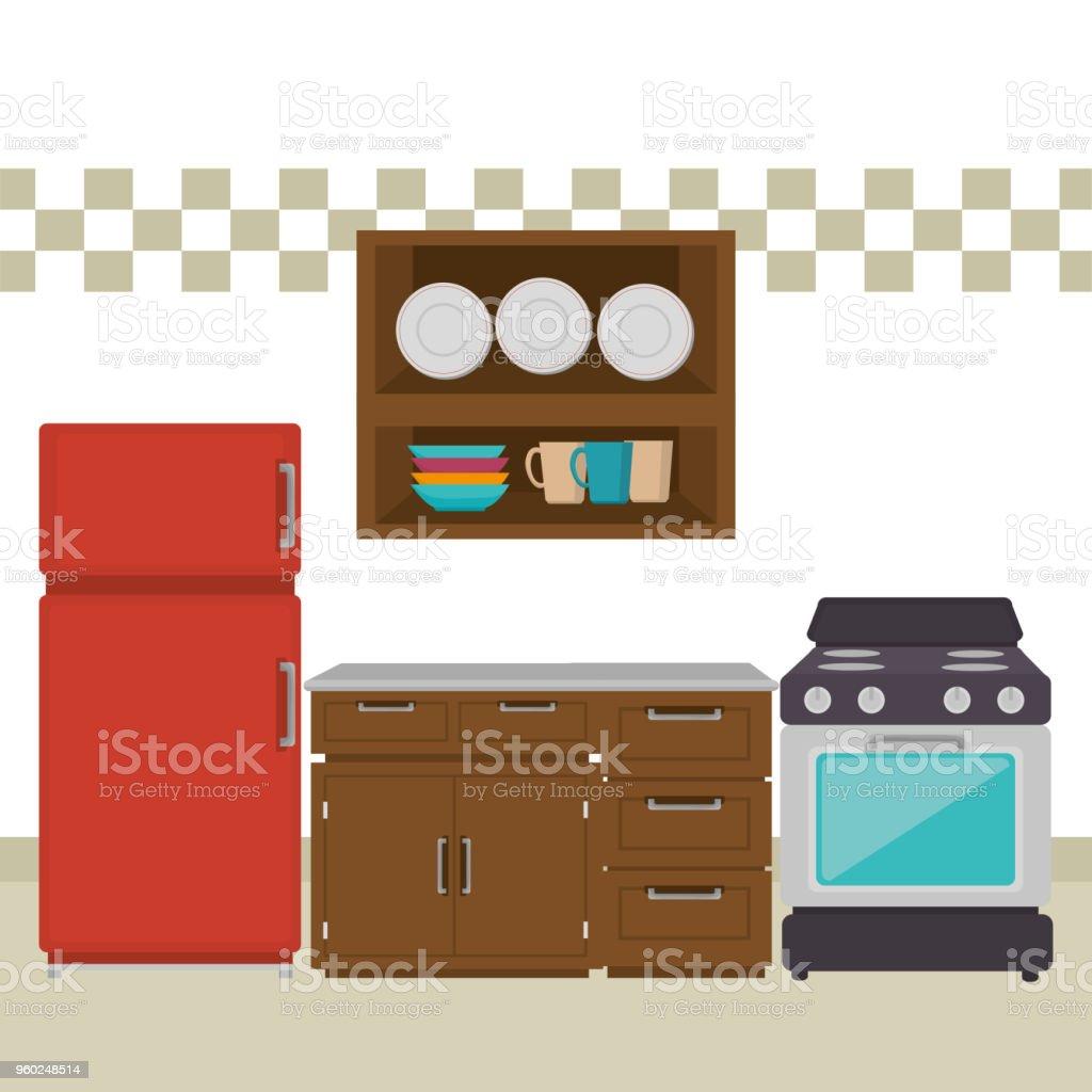 Küche Zimmer Szene Symbole Lizenzfreies Küche Zimmer Szene Symbole Stock  Vektor Art Und Mehr Bilder Von