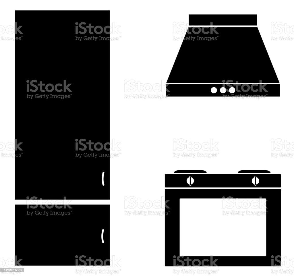 Küche Zimmer Zeichen Moderne Küche Interieur Mit Gasherd Flachen ...