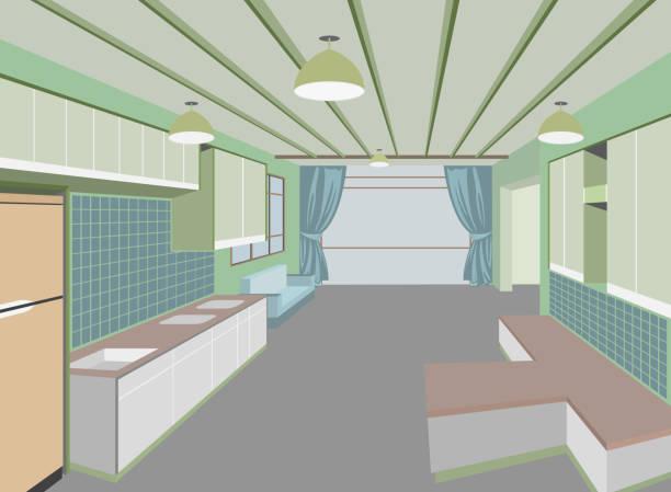 küche zimmer - winkelküche stock-grafiken, -clipart, -cartoons und -symbole