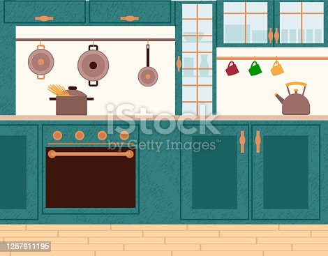Interior view of cooking place with boiling spaghetti on stove. Teapot on wooden furniture, steel pot and cup on wall. Kitchen nobody room with oven appliance and dish objects, glass cupboard vector