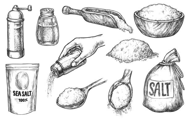 Kitchen salt baking and cooking ingredient sketch set Kitchen salt baking or cooking spice ingredient sketch set. Handdrawn salting hand and crystal in heap, glass bottle, wooden spoon, sack, package, bowl vector illustration isolated on white background salt stock illustrations