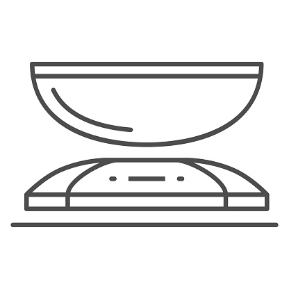 Kitchen scales thin line icon, Kitchen appliances concept, weight scale symbol on white background, scale icon in outline style for mobile concept and web design. Vector graphics.