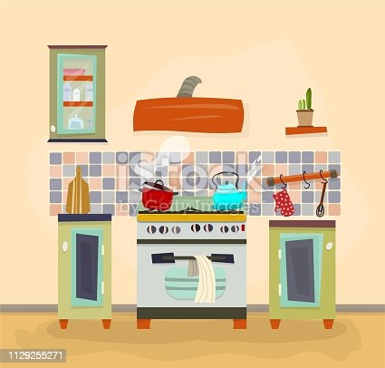 Detailed vector illustration.Interior of the kitchen: stove, oven, cupboards, plant, boiling pot, kettle; cooking. Vector illustration in flat, cartoon style. Interior background template.Vector EPS10
