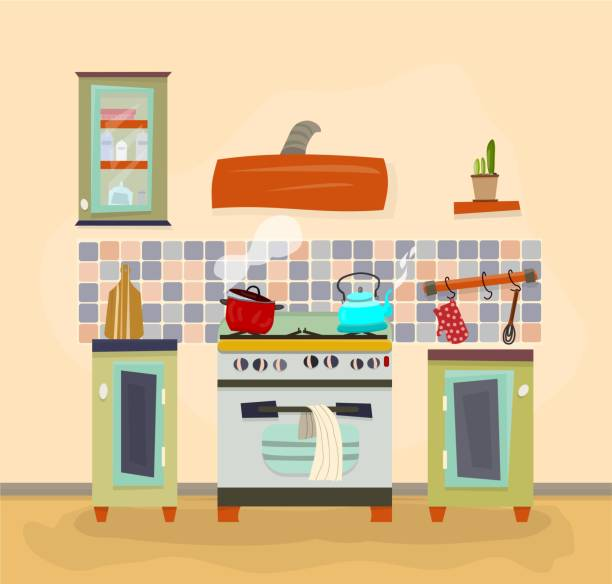 küche-szene. - retroküchen stock-grafiken, -clipart, -cartoons und -symbole