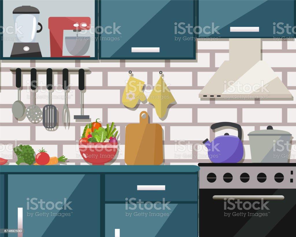 Küche Mit Tisch Herd Schrank Geschirr Haushaltsgeräte Szene Stock ...